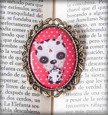 ilustración original decoración regalo broche complementos dorado perro katrina día muertos méxico calavera gótico steampunk