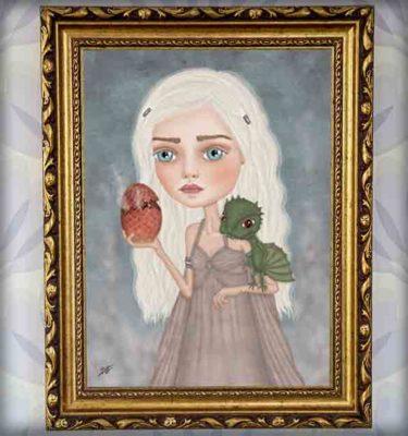 ilustración original decoración regalo lámina enmarcada cuadro daenerys targaryen juego de tronos dragon series azul