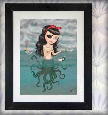 ilustración original decoración regalo lámina enmarcada cuadro octopussy pinup pirata tatuajes tattoo barco papel fuego mar pulpo