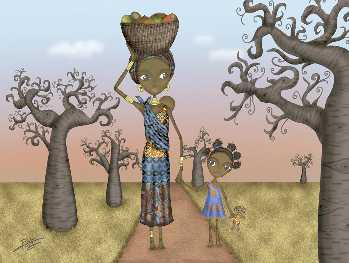 decoración bebé infantil regalo dibujo arte diseño cine amor niños vintage ropa venta digital cuadro ilustración original baobabs áfrica madre hija naif
