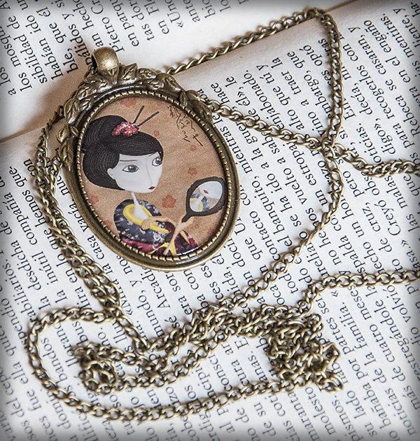 decoración bebé infantil regalo dibujo arte diseño cine amor niños vintage ropa venta digital cuadro colgante geisha reflejo espejo sonrisa japón oriental original ilustrado
