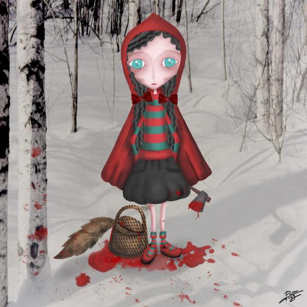 decoración bebé infantil regalo dibujo arte diseño cine amor niños vintage ropa venta digital cuadro caperucita killer cuento lobo feroz gore sangre hacha ilustración original