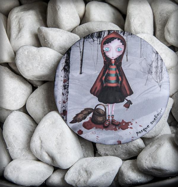 decoración bebé infantil regalo dibujo arte diseño cine amor niños vintage ropa venta digital cuadro espejo cuento caperucita killer lobo gore gótico hacha sangre original ilustrado