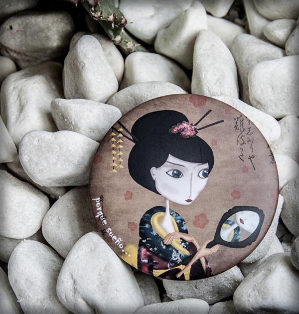 decoración bebé infantil regalo dibujo arte diseño cine amor niños vintage ropa venta digital cuadro espejo geisha sonrisa japón oriental original ilustrado