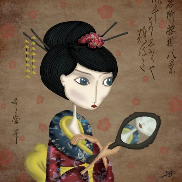 decoración bebé infantil regalo dibujo arte diseño cine amor niños vintage ropa venta digital cuadro ilustración original geisha reflejo sonrisa japón oriental