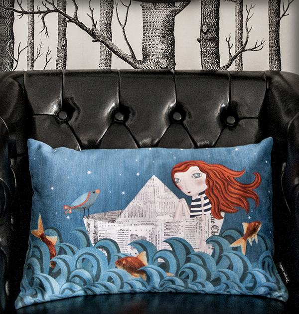 decoración bebé infantil regalo dibujo arte diseño cine amor niños vintage ropa venta digital cuadro pelirroja mar barco papel original ilustrada