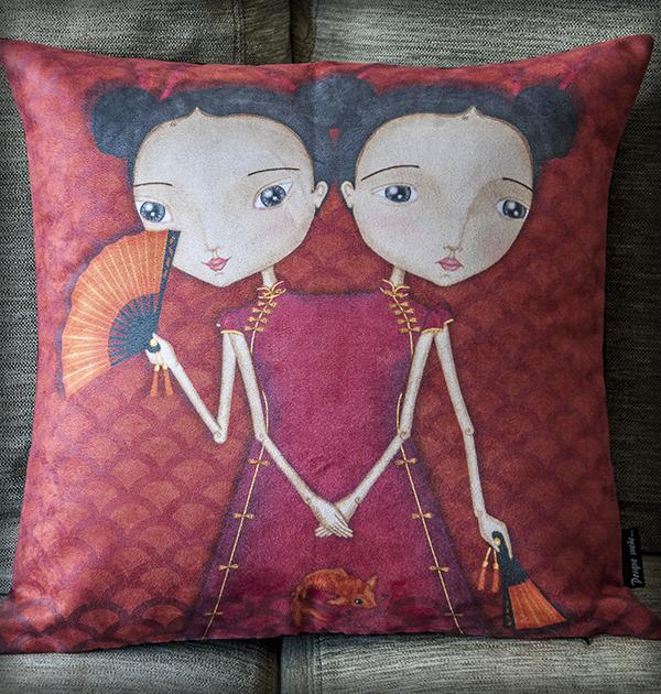 decoración bebé infantil regalo dibujo arte diseño cine amor niños vintage ropa venta digital cuadro siamesas japón oriental original ilustrada