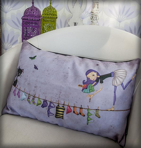 decoración bebé infantil regalo dibujo arte diseño cine amor niños vintage ropa venta digital cuadro equilibrista gato tendal ropa naif original ilustrada