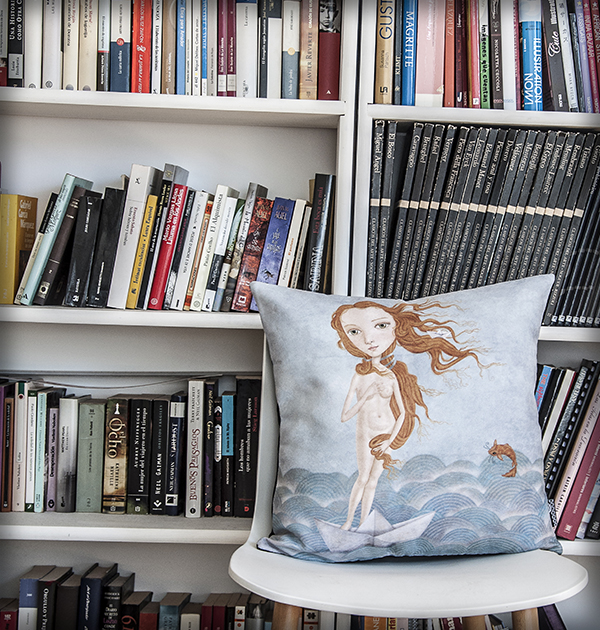 decoración bebé infantil regalo dibujo arte diseño cine amor niños vintage ropa venta digital cuadro venus mar barco papel pez pelirroja original ilustrada