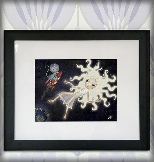 decoración bebé infantil regalo dibujo arte diseño cine amor niños vintage ropa venta digital cuadro ilustración original planeta espacio cosmos gato cohete niña naif