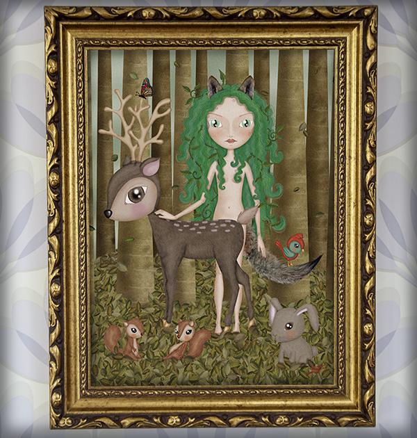 decoración bebé infantil regalo dibujo arte diseño cine amor niños vintage ropa venta digital cuadro ilustración original ciervo bosque niña naif pájaro ardilla conejo mariposa animales