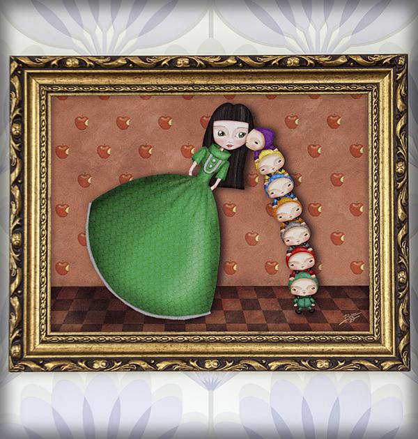 decoración bebé infantil regalo dibujo arte diseño cine amor niños vintage ropa venta digital cuadro ilustración original blancanieves enanitos cuento naif manzana princesa
