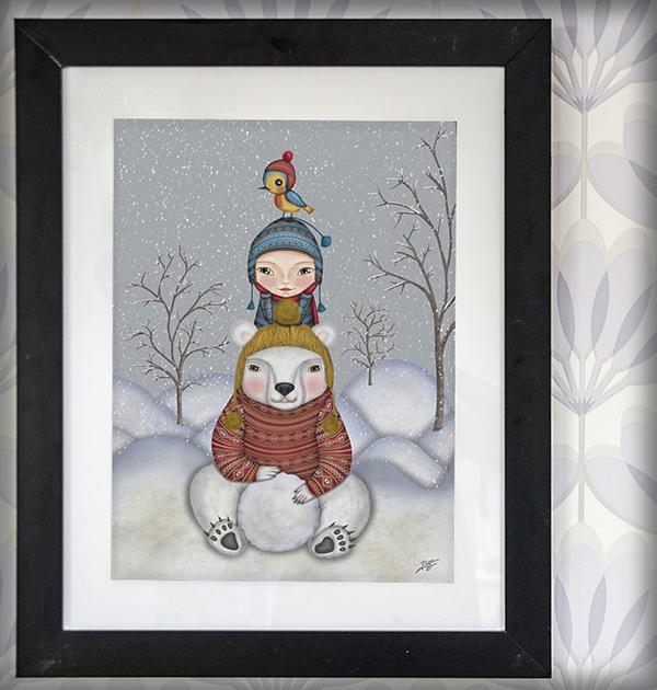 decoración bebé infantil regalo dibujo arte diseño cine amor niños vintage ropa venta digital cuadro ilustración original nieve oso pájaro naif