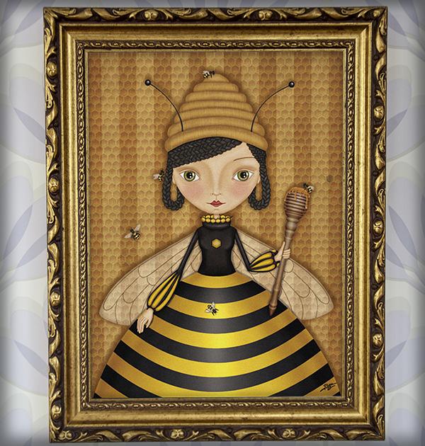 decoración bebé infantil regalo dibujo arte diseño cine amor niños vintage ropa venta digital cuadro ilustración original abeja reina miel panal naif princesa