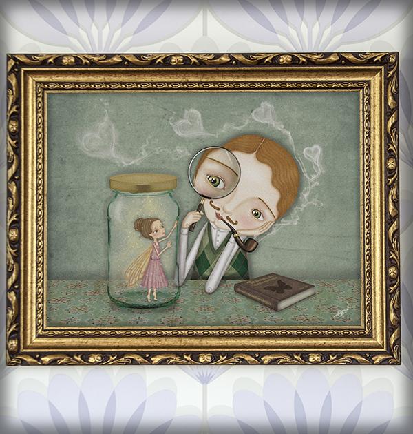 decoración bebé infantil regalo dibujo arte diseño cine amor niños vintage ropa venta digital cuadro ilustración original amor corazón hada naif