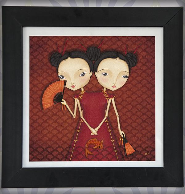 decoración bebé infantil regalo dibujo arte diseño cine amor niños vintage ropa venta digital cuadro ilustración original japón siamesas naif japón oriental