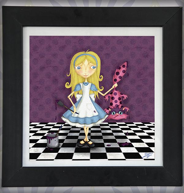 decoración bebé infantil regalo dibujo arte diseño cine amor niños vintage ropa venta digital cuadro ilustración original alicia maravillas gato cuento naif