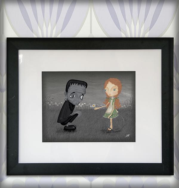 decoración bebé infantil regalo dibujo arte diseño cine amor niños vintage ropa venta digital cuadro ilustración original frankenstein niña b&n flor pelicula naif