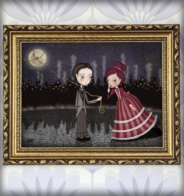 decoración bebé infantil regalo dibujo arte diseño cine amor niños vintage ropa venta digital cuadro ilustración original amor pareja romántico ciudad naif