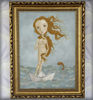 decoración bebé infantil regalo dibujo arte diseño cine amor niños vintage ropa venta digital cuadro ilustración original mar barco papel pez pelirroja naif