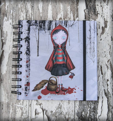 decoración bebé infantil regalo dibujo arte diseño cine amor niños vintage ropa venta digital cuadro libreta caperucita killer gore sanrge lobo cuento original ilustrada