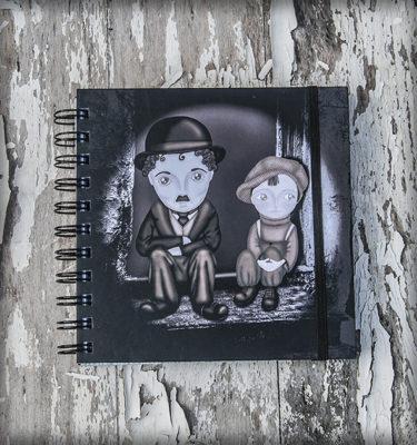decoración bebé infantil regalo dibujo arte diseño cine amor niños vintage ropa venta digital cuadro libreta chaplin pelicula b&n chico original ilustrada