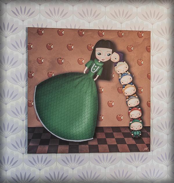 decoración bebé infantil regalo dibujo arte diseño cine amor niños vintage ropa venta digital cuadro ilustración original blancanieves enanitos cuento naif manzana