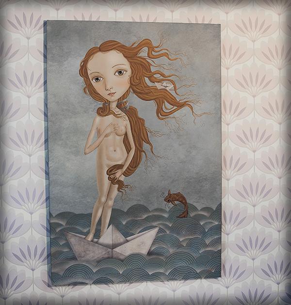 decoración bebé infantil regalo dibujo arte diseño cine amor niños vintage ropa venta digital cuadro ilustración original barco papel pez pelirroja mar