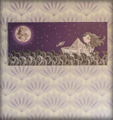 decoración bebé infantil regalo dibujo arte diseño cine amor niños vintage ropa venta digital cuadro ilustración original deriva barco papel luna niña pez pájaro