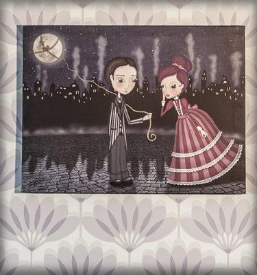decoración bebé infantil regalo dibujo arte diseño cine amor niños vintage ropa venta digital cuadro ilustración original amor pareja ciudad época romántico