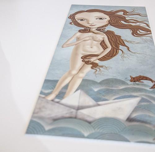 decoración bebé infantil regalo dibujo arte diseño cine amor niños vintage ropa venta digital cuadro ilustración original barco papel pez mar pelirroja