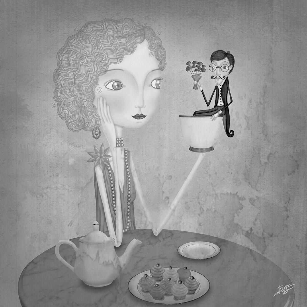decoración bebé infantil regalo dibujo arte diseño cine amor niños vintage ropa venta digital cuadro ilustración original b&n tea time amor cita flores caballero señorita naif