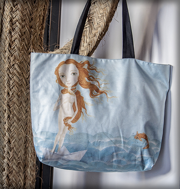 decoración bebé infantil regalo dibujo arte diseño cine amor niños vintage ropa venta digital cuadro ilustración original pelirroja mar océano pez barco papel carpa