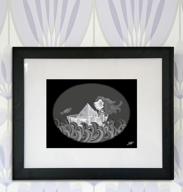 decoración bebé infantil regalo dibujo arte diseño cine amor niños vintage ropa venta digital cuadro ilustración original barco papel niña agua pájaro mar océano