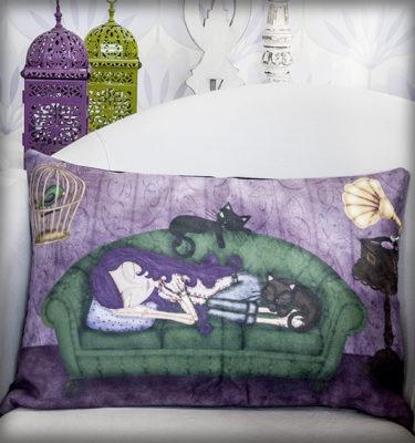 decoración bebé infantil regalo dibujo arte diseño cine amor niños vintage ropa venta digital cuadro ilustración original sofá gato gramófono pájaro jaula dormir