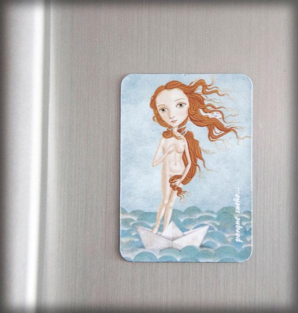 ilustración original decoración bebé infantil regalo dibujo arte diseño cine niños vintage ropa venta digital cuadro nevera boticcelli barco papel mar pelirroja