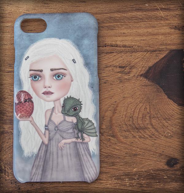 ilustración original decoración regalo carcasa iphone serie juego de tronos daenerys targaryen dragon dragones