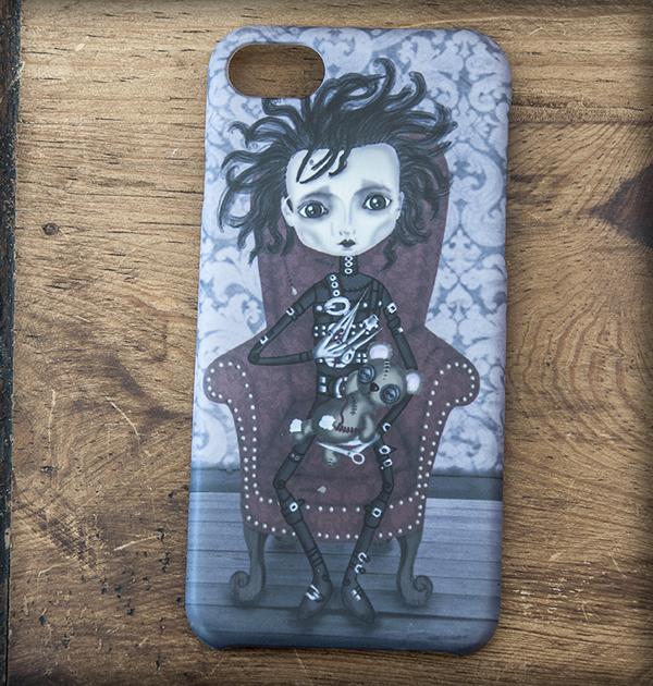 ilustración original decoración regalo carcasa iphone diseño cine tim burton pelicula eduardo manostijeras amor gótico steampunk oscuro siniestro