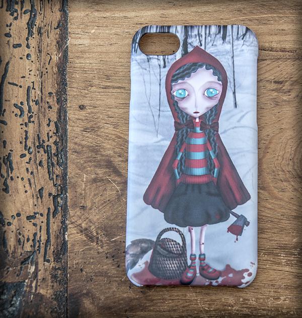 ilustración original decoración regalo carcasa iphone diseño caperucita roja killer asesina lobo sangre gotico steampunk gore