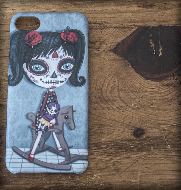 ilustración original decoración regalo carcasa iphone diseño niña katrina mexico dia muertos calavera gotico steampunk coletas