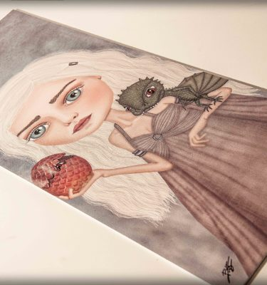 ilustración original decoración regalo placa pvc serie juego de tronos daenerys targaryen madre de dragones dragon fuego