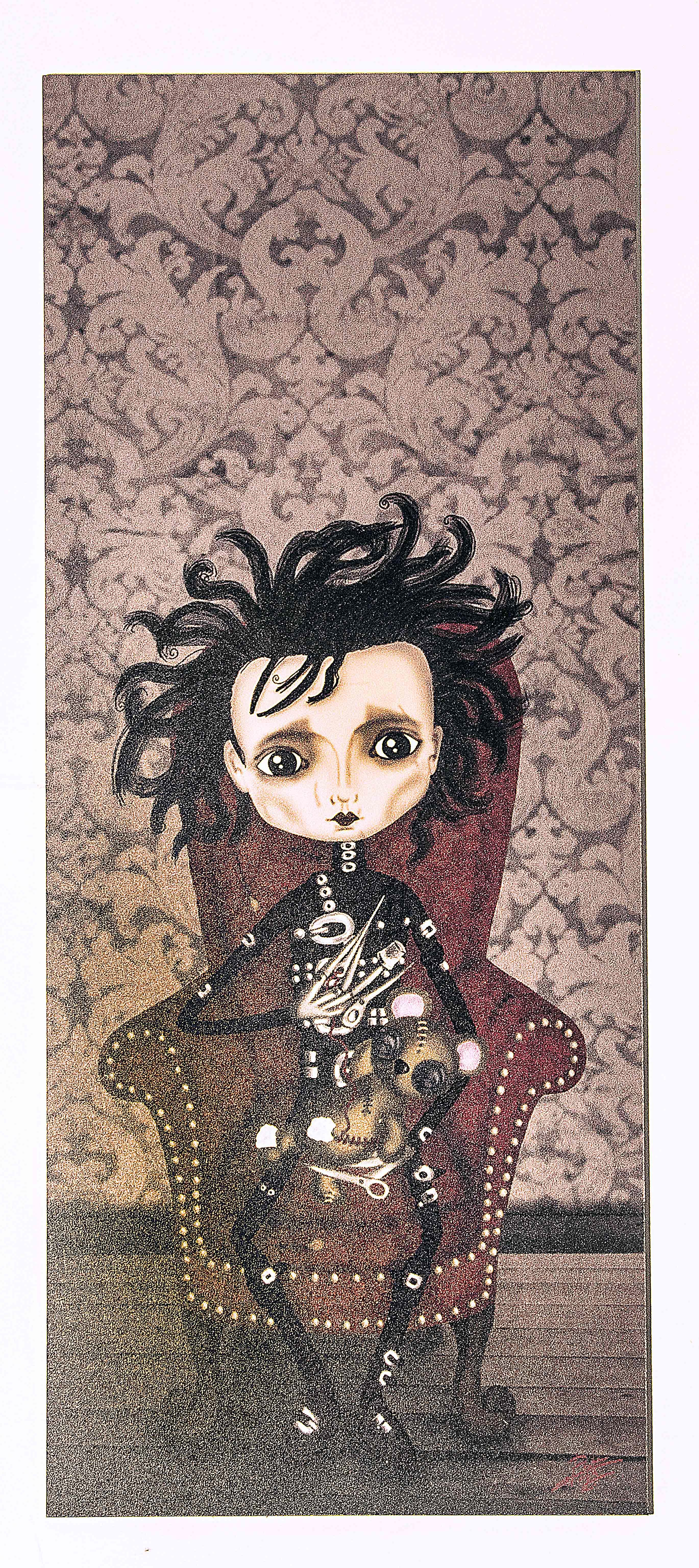 ilustración original decoración regalo placa pvc pelicula eduardo manostijeras tim burton gotico steampunk amor siniestro