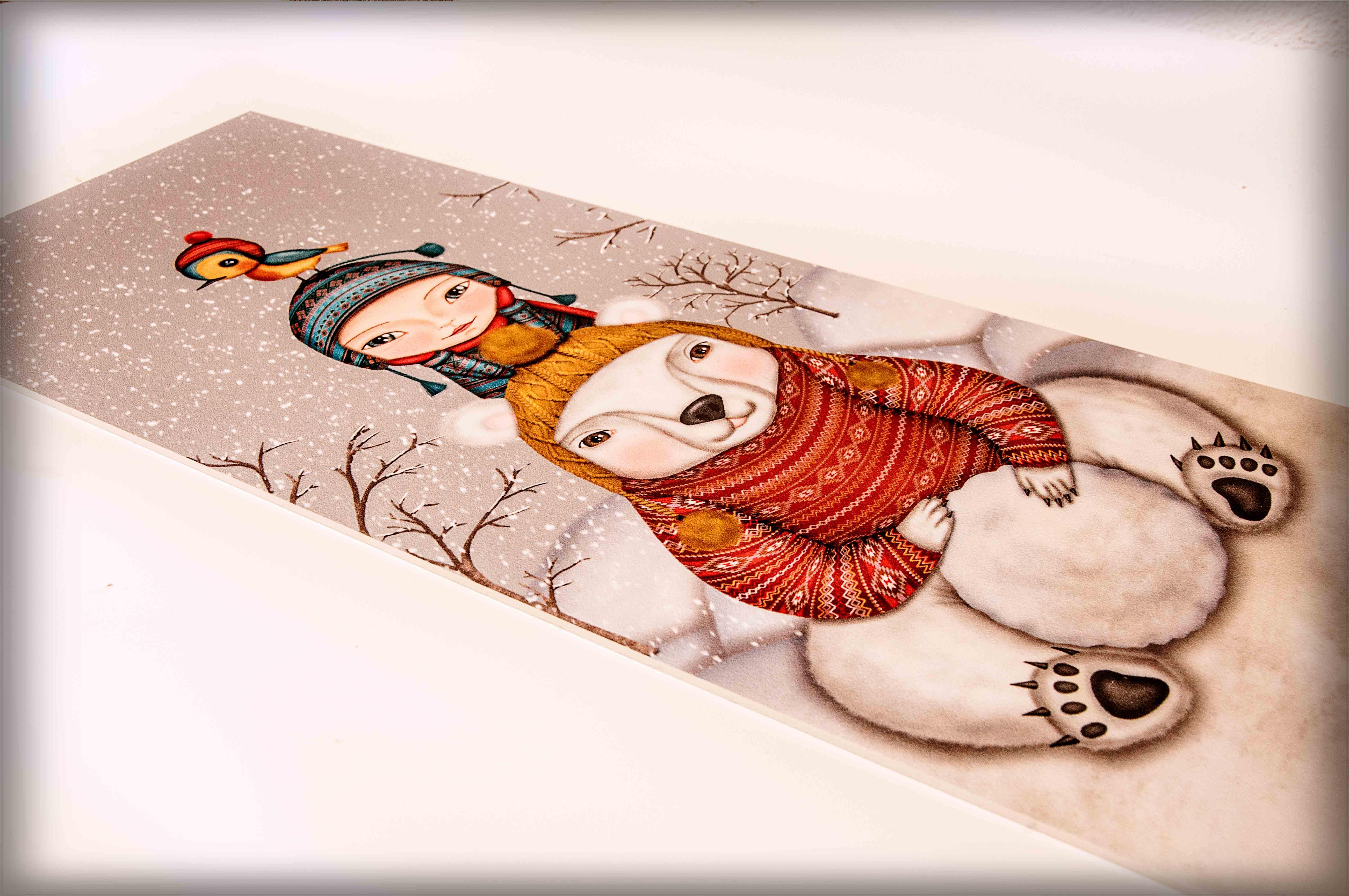 ilustración original decoración regalo placa pvc invierno oso niño pajaro nieve arboles amigos cariño divertido