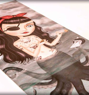 ilustración original decoración regalo placa pvc octopussy mujer pirata mala mar fuego pin-up tattoo tatuaje