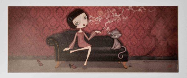 ilustración original decoración regalo placa pvc ohlala madame cigarro fumar gato sofa chaiselonge humo