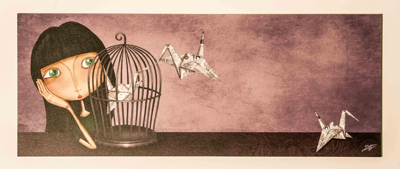 ilustración original decoración regalo placa pvc origami pajaro papel niña jaula amor