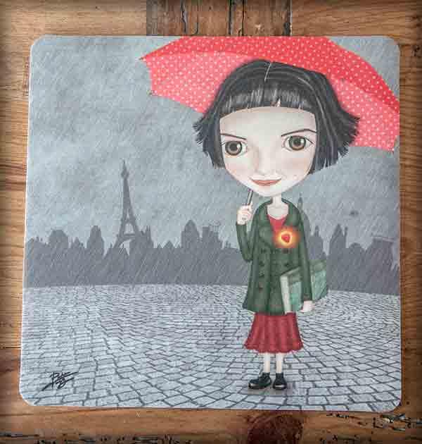 ilustración original decoración regalo alfombrilla ratón ordenador amelie cine pelicula amor paris rojo paraguas corazón
