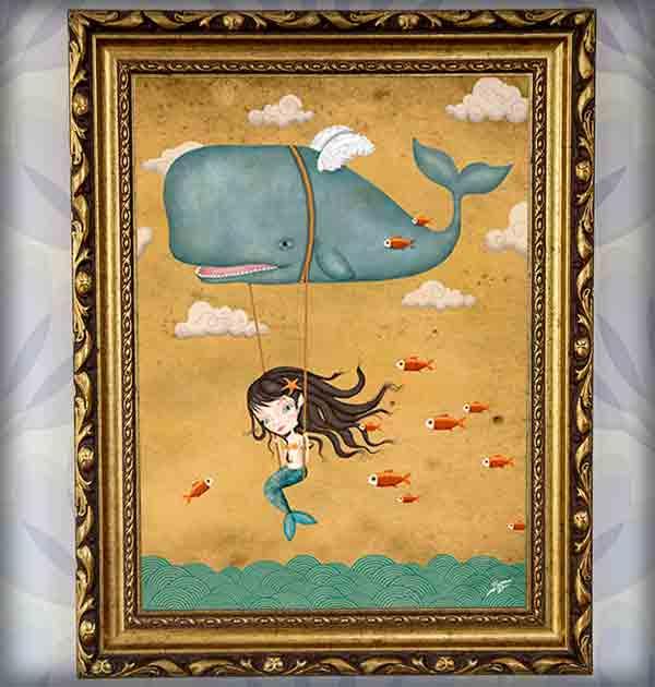 ilustración original decoración regalo lámina enmarcada cuadro peces voladores ballena sirena alas volar mar aire columpio